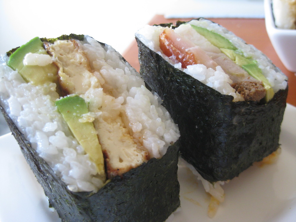 20130420 Pork and Tofu Avocado Musubi