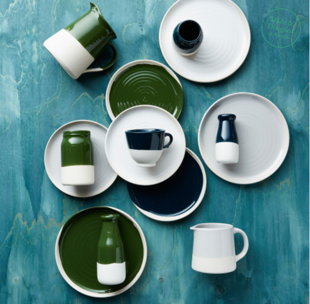 Robert Gordon Swatch Dinner and Side Plates in Racing Green and Indigo  Side Plate  $29.95  Dinner Plat e $43.95