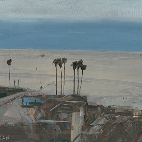 Shaun Tan Dark palms and buildings, Santa Monica  2012 Oil on board 20 x 15cm NOT AVAILABLE
