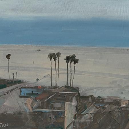 Shaun Tan Dark palms and buildings, Santa Monica 2012 Oil on board 20 x 15cm NOT AVAILABLE