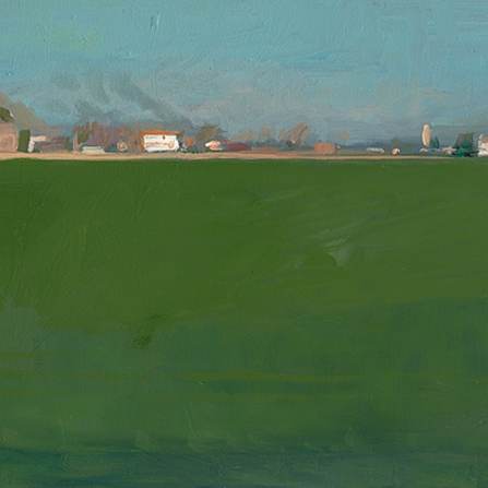 Shaun Tan Green Field, Italy  2015 Oil on board 20 x 15cm $1450