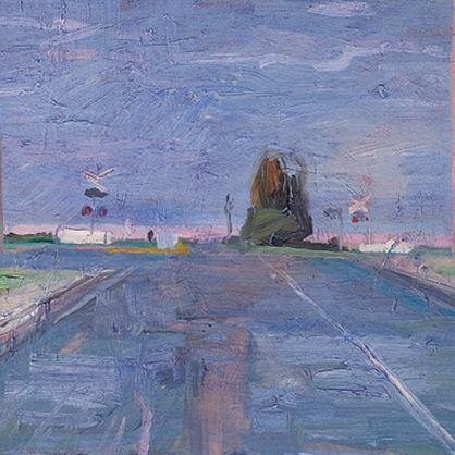 Shaun Tan Highway at dusk, Colac 2011 Oil on board 20 x 15cm $1450