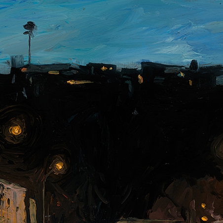 Shaun Tan Houses along a black cliff 2012 OIl on board 20 x 15cm $1450