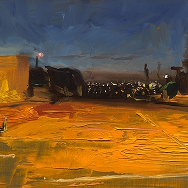 Shaun Tan Lights in Moonee Ponds 2014 Oil on board 20 x 15cm NOT AVAILABLE