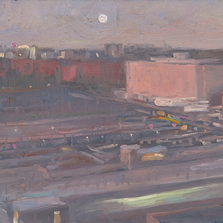 Shaun Tan Moon over Adelaide  2011 Oil on board 20 x 15cm $1450
