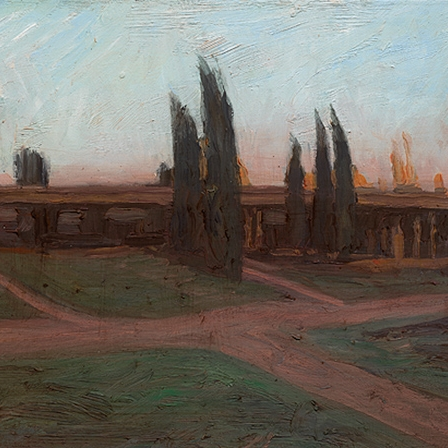 Shaun Tan Overpass, Helsinki  2013 Oil on board 20 x 15cm $1450