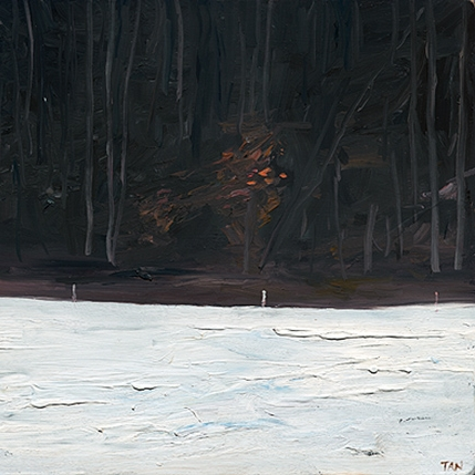 Shaun Tan Snow and forest  2013 Oil on board 20 x 15cm $1450