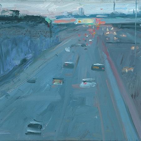 Shaun Tan Tullamarine freeway 2016 Oil on board 20 x 15cm $1450