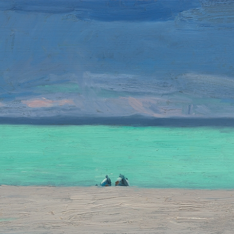 Shaun Tan Two teenagers observing a coming storm, Hawkes Bay  2012 Oil on board 20 x 15cm NOT AVAILABLE