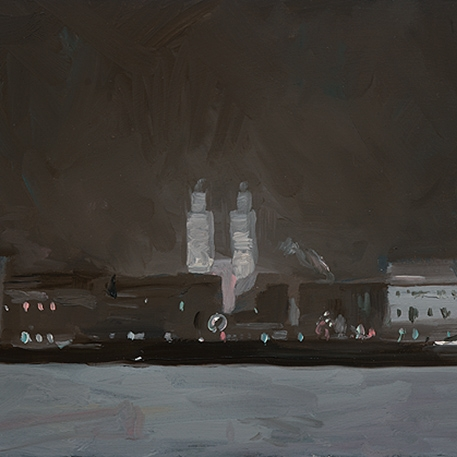 Shaun Tan Winter night, Zurich  2012 Oil on board 20 x 15cm $1450