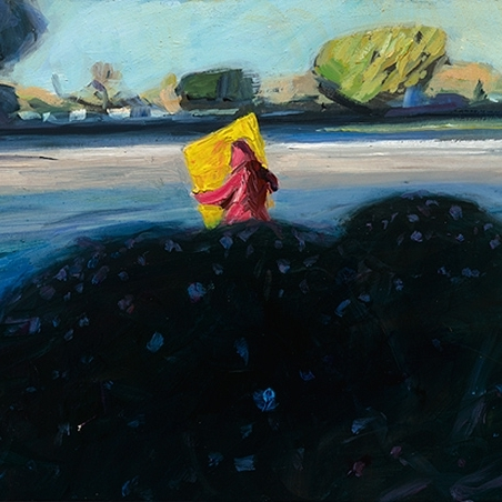 Shaun Tan Man with a yellow sign, Mailbu 2013 Oil on board 20 x 15cm $1450