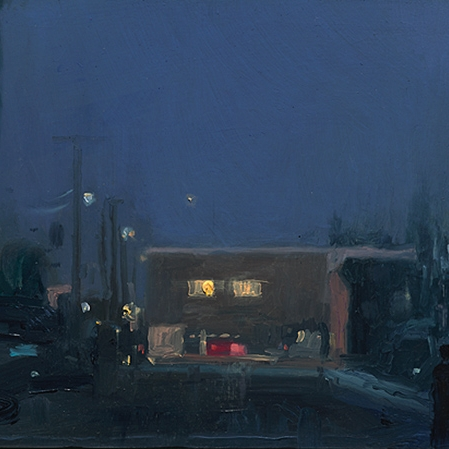 Shaun Tan Brunswick nocturne 2016 Oil on board 20 x 15cm NOT AVAILABLE