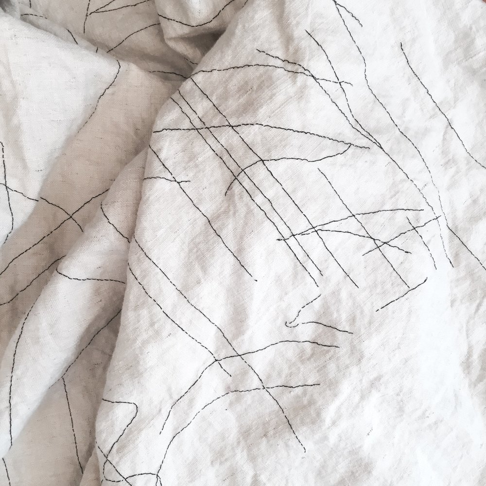 Nonie Sutcliffe listening cloth #2 2016 (detail) Stitched vintage linen and thread 65 x 4200cm $1400