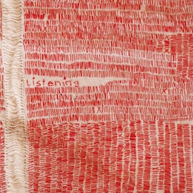 Nonie Sutcliffe listening cloth # 1 2016 (detail) Stitched vintage linen and thread 35 x 42cm $900