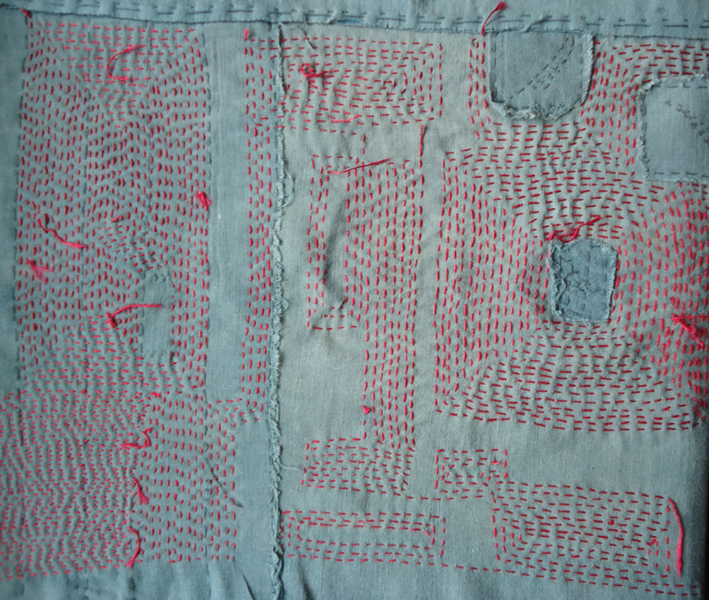Glenys Mann Boro - Red Mend  2016 (detail) Hand mended vintage fabric 95 x 50cm $850