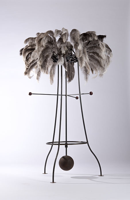 Alex Sanson, Murmuring 2016, carbon steel, stainless steel, ostrich feathers, bearings and pigment, 170cm x 110cm