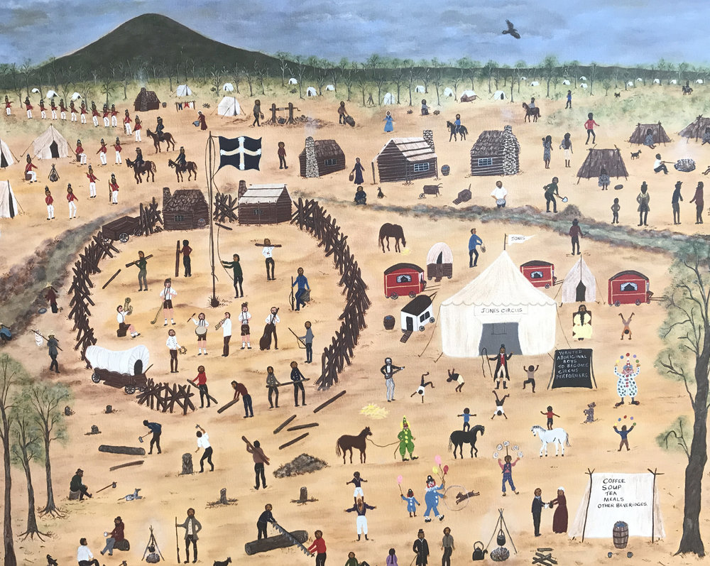 Marlene Gilson Jones' Circus at Eureka  2016 Acrylic on linen, 100 x 80 cm courtesy of the artist AUD$6,815 including commission and GST