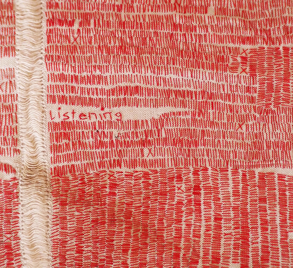 Nonie Sutcliffe Listening Cloth #1 (detail), 2017 Handstitched vintage cloth, 36 x42cm