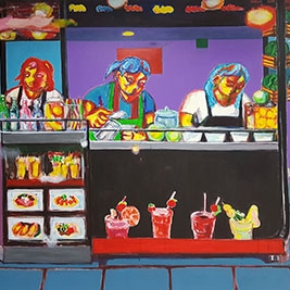 Jaedon Shin Tropical Juice Shop 2017 acrylic on canvas 200  x 280 cm $10, 000