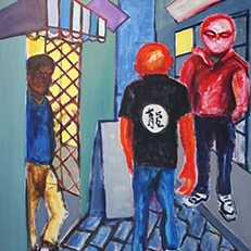 Jaedon Shin Tourists 2015 acrylic on canvas 110 x 90cm $2, 300