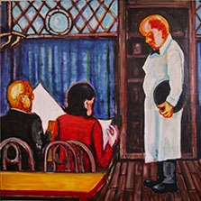 Jaedon Shin Dining 2014 oil on canvas 125 x 158.5cm $4, 500