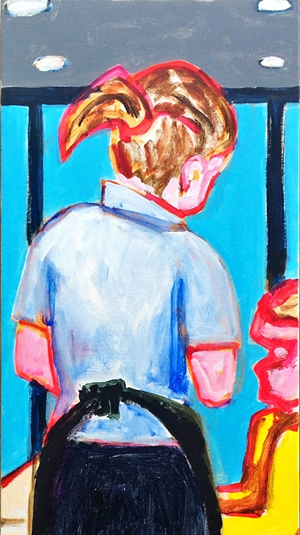 Jaedon Shin George's Cafe 2015 acrylic on canvas 124 x 40cm $1, 800