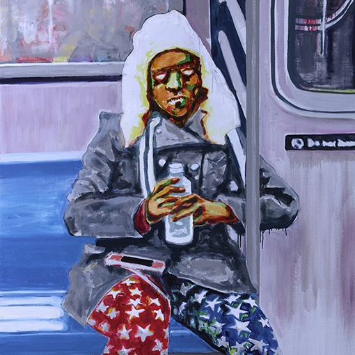 Jaedon Shin A Girl in New York Subway 2013 oil on linen 200 x 110cm $3, 800