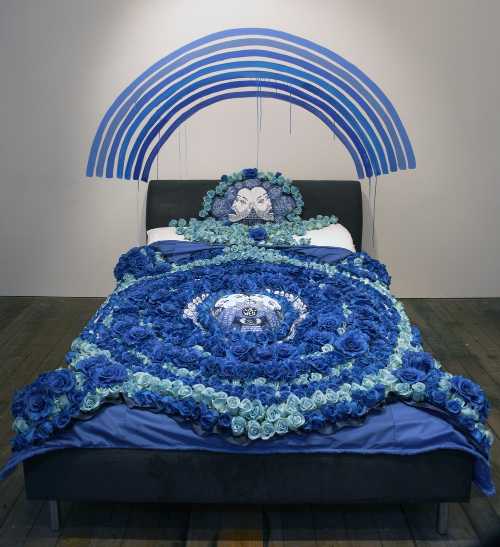 Lucas Grogan, The Wedding Quilt 2014-2017, acrylic, faux roses, polyester, embroidery thread