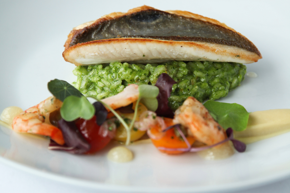 John Dory with parsnip puree, quinoa, lemon gel, super grain & pea shoot salad & broccolini