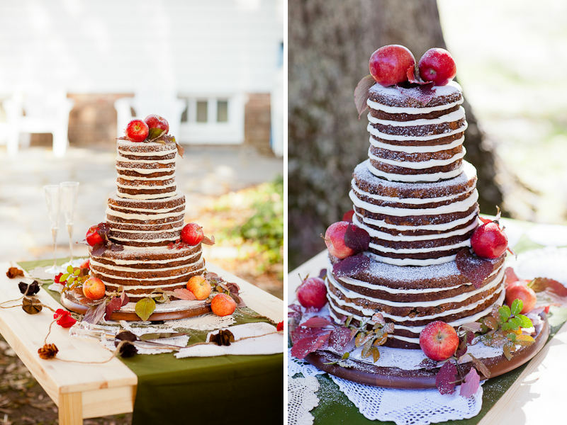 'Naked' Wedding Cake.  Image via: