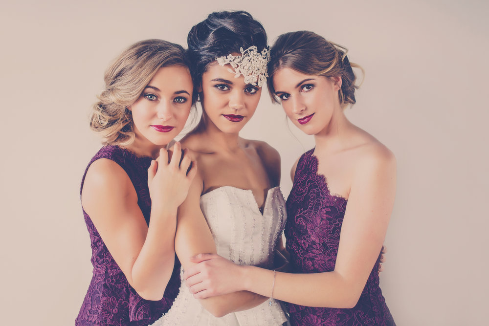Image by Kate Little for Harlow Garland, bridesmaid attire by Alannah Hill, Wedding gown by Vinka Design, Hair by Inspired Hair