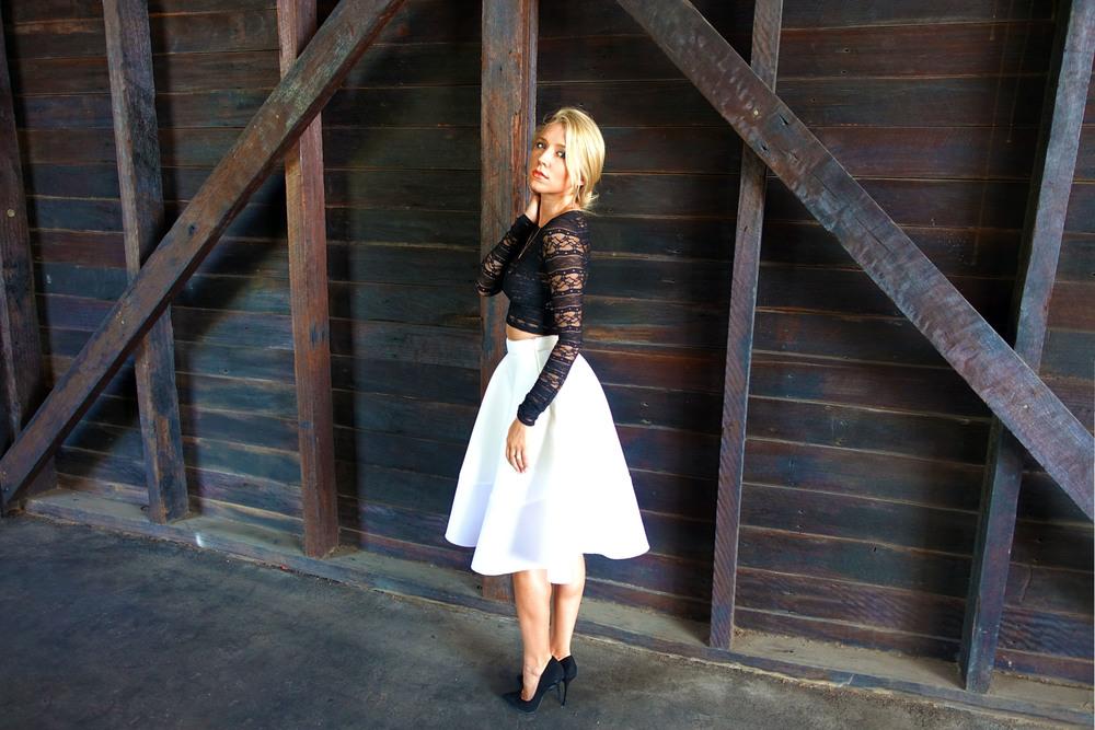 Glamorous white skirt side view