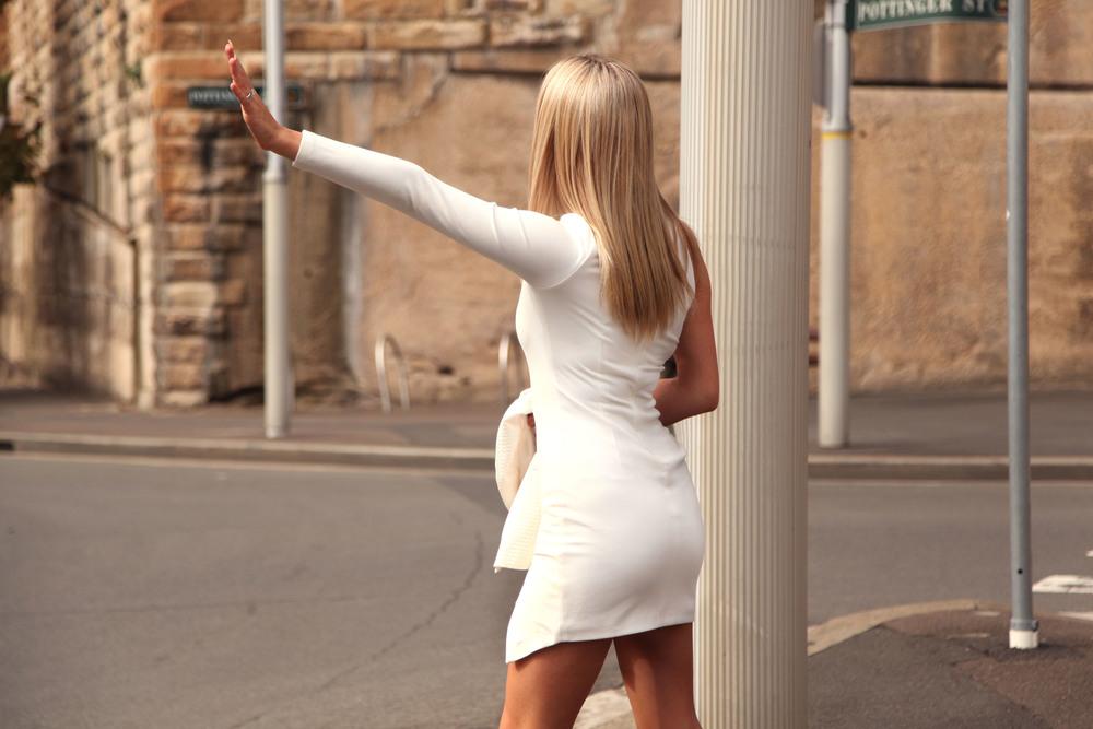 white body con dress misha collection