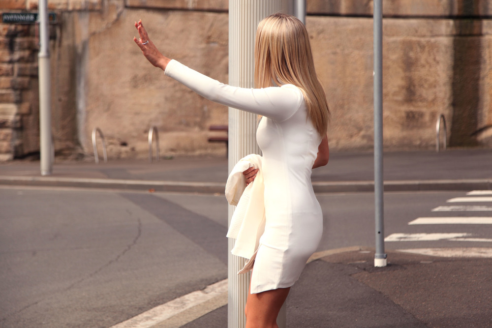 taxi hail white dress misha collection