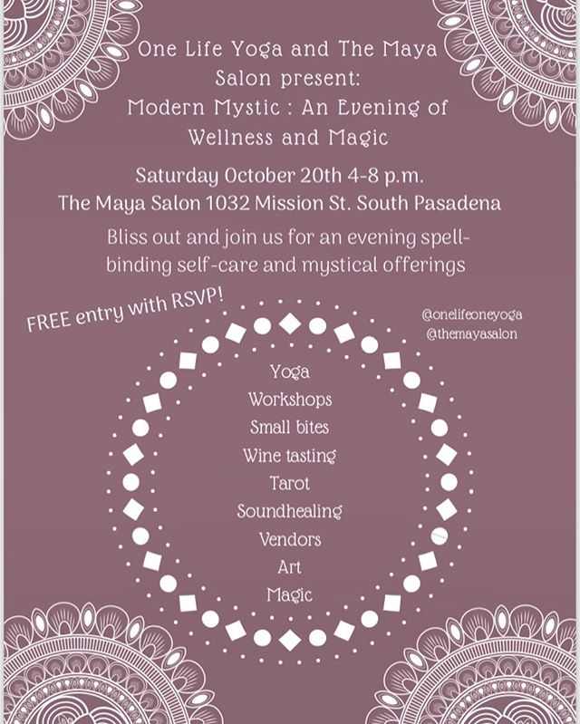 LA LA LAND ✨💫 Join us TONIGHT for Modern Mystic: An Evening of Wellness and Magick • 4-8pm at @themayasalon in South Pasadena 🌹🌿🔮✨ It will be a beautiful night of magical offerings including sound healing, art, yoga and breathwork led by the beautiful @samyrosefrequency ✨ Yours truly is ecstatic to adorn your wonderful vessels with henna body art! 🌀✍🏽✨