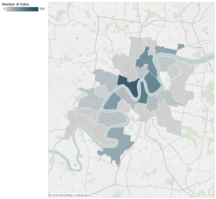 Figure 2: Interactive map showing the number of luxury apartments sold in each suburb across Brisbane's Inner City over the past ten years.