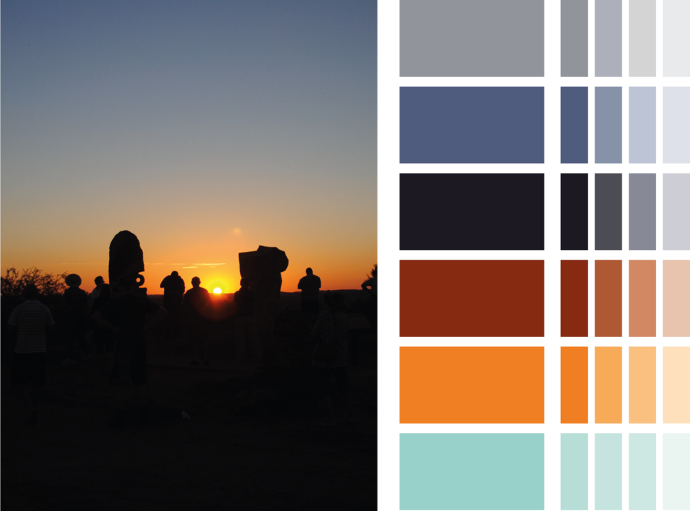 The colour palette inspired by the Broken Hill landscape