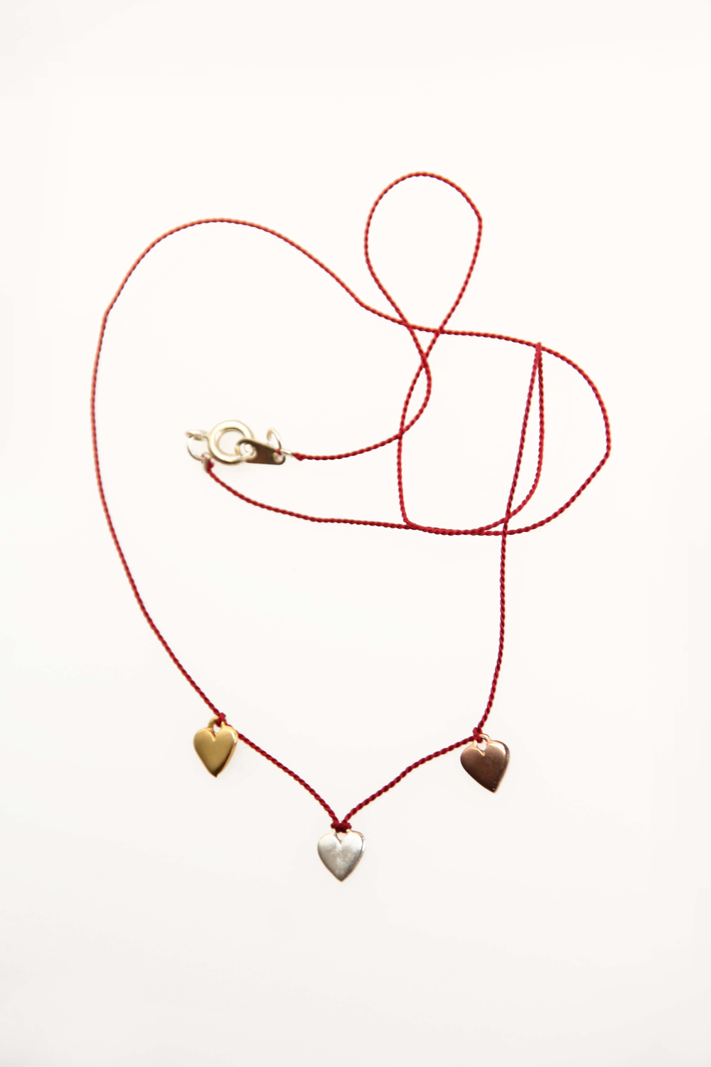 3 Heart Silk Necklace