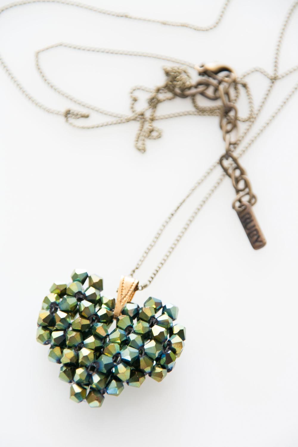 Emerald Green Woven Heart