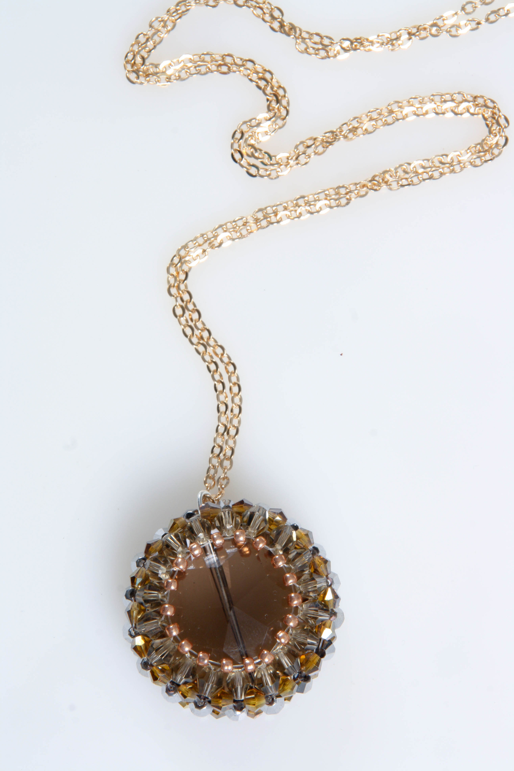 Smokey Quartz beaded pendant(8102).jpg