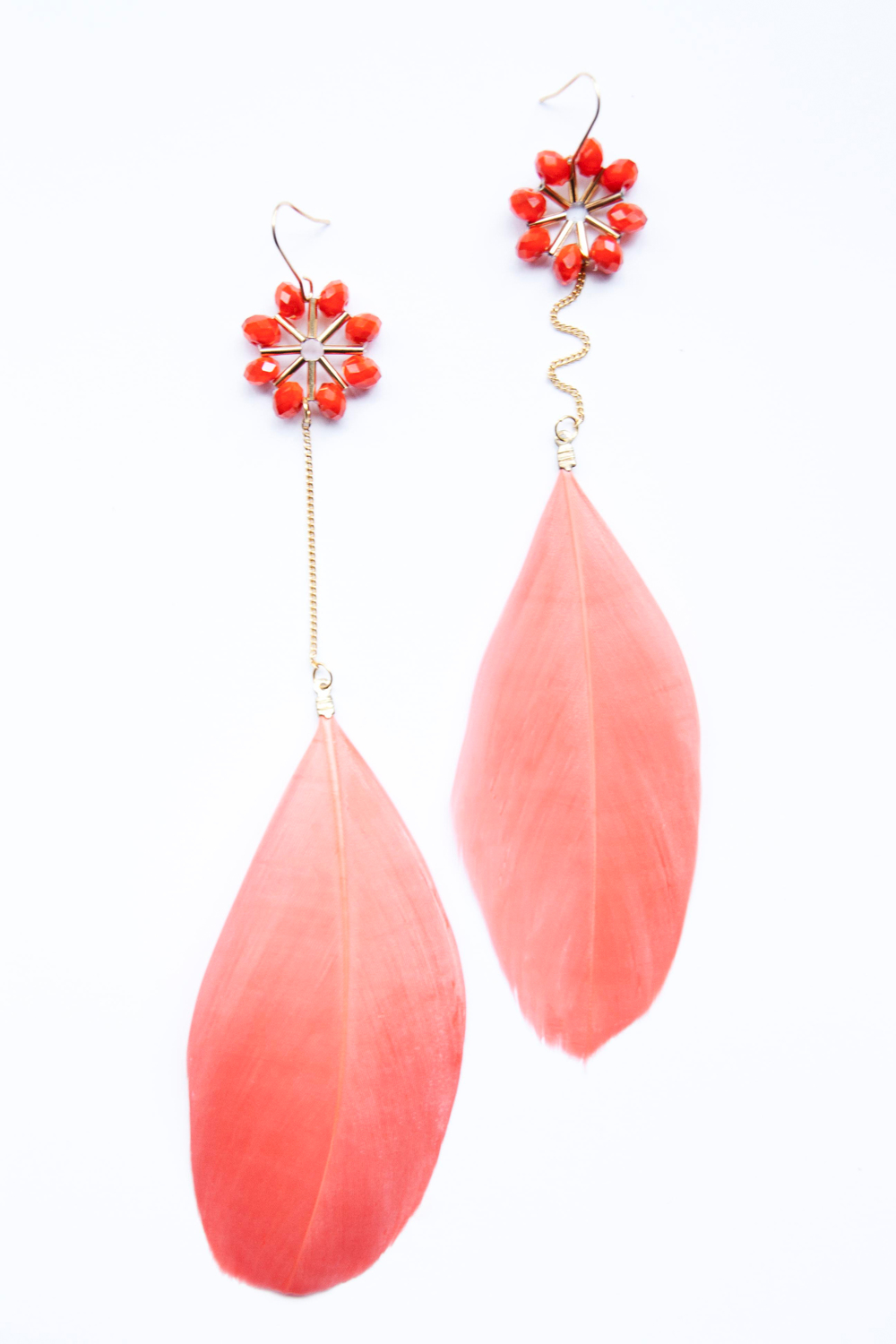 Coral beaded Feather Earring (9106).jpg