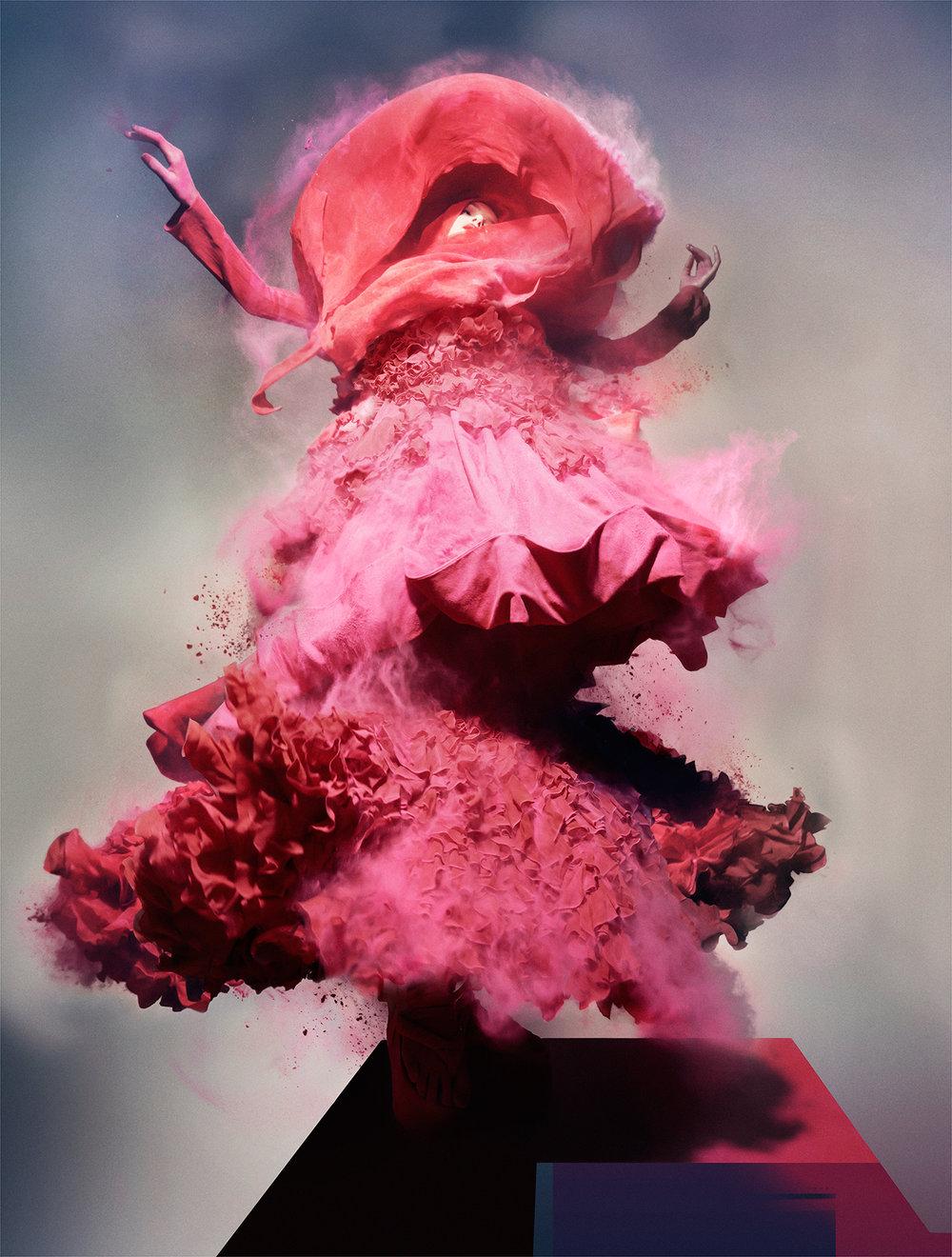 'PAINTING & POLITICS' Pink Powder, Lily Donaldson wearing John Galliano, 2008 ⓒ NICK KNIGHT