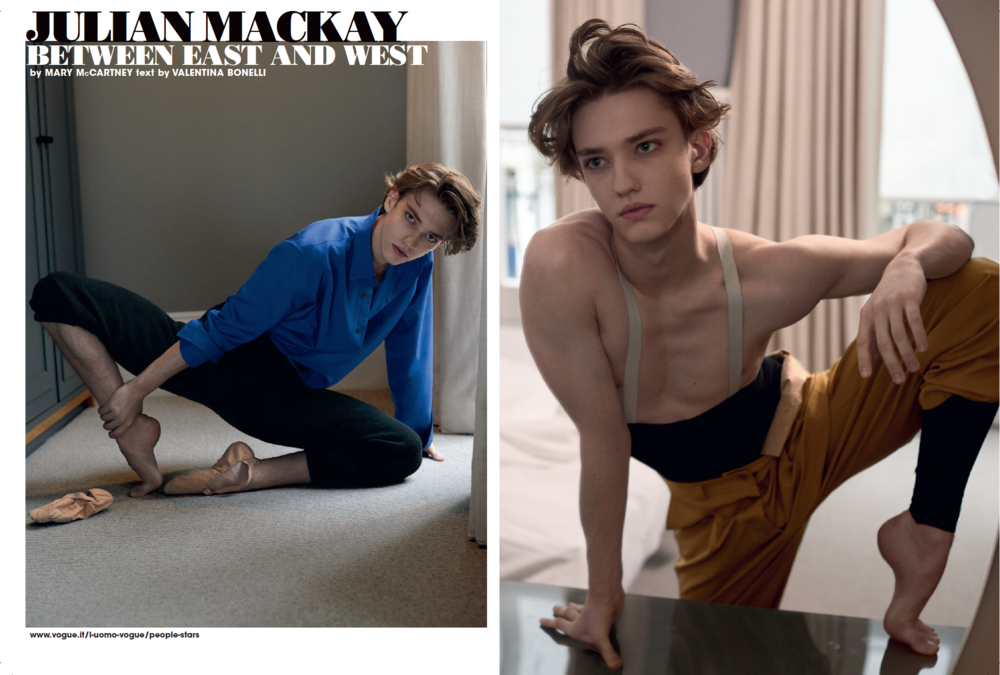 Julian Mackay in L'Uomo Vogue - ph. Mary Mc Cartney