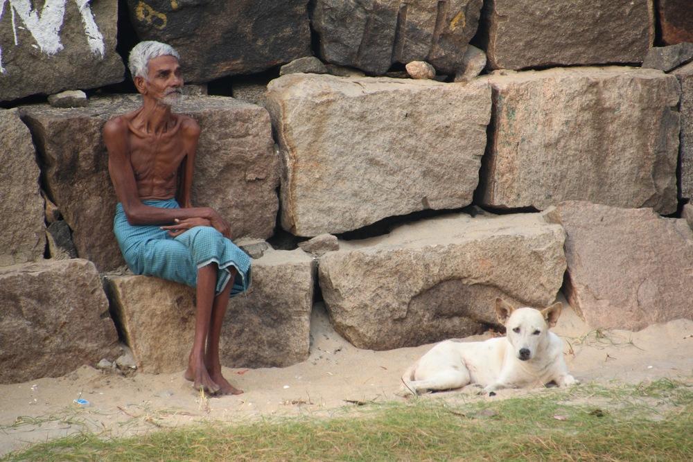 THIN INDIAN MAN, THIN INDIAN DOG
