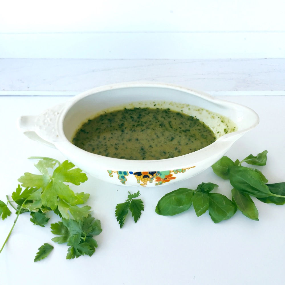 Home made salsa verde. It's a sharp, tangy sauce that goes well with fish and meat.