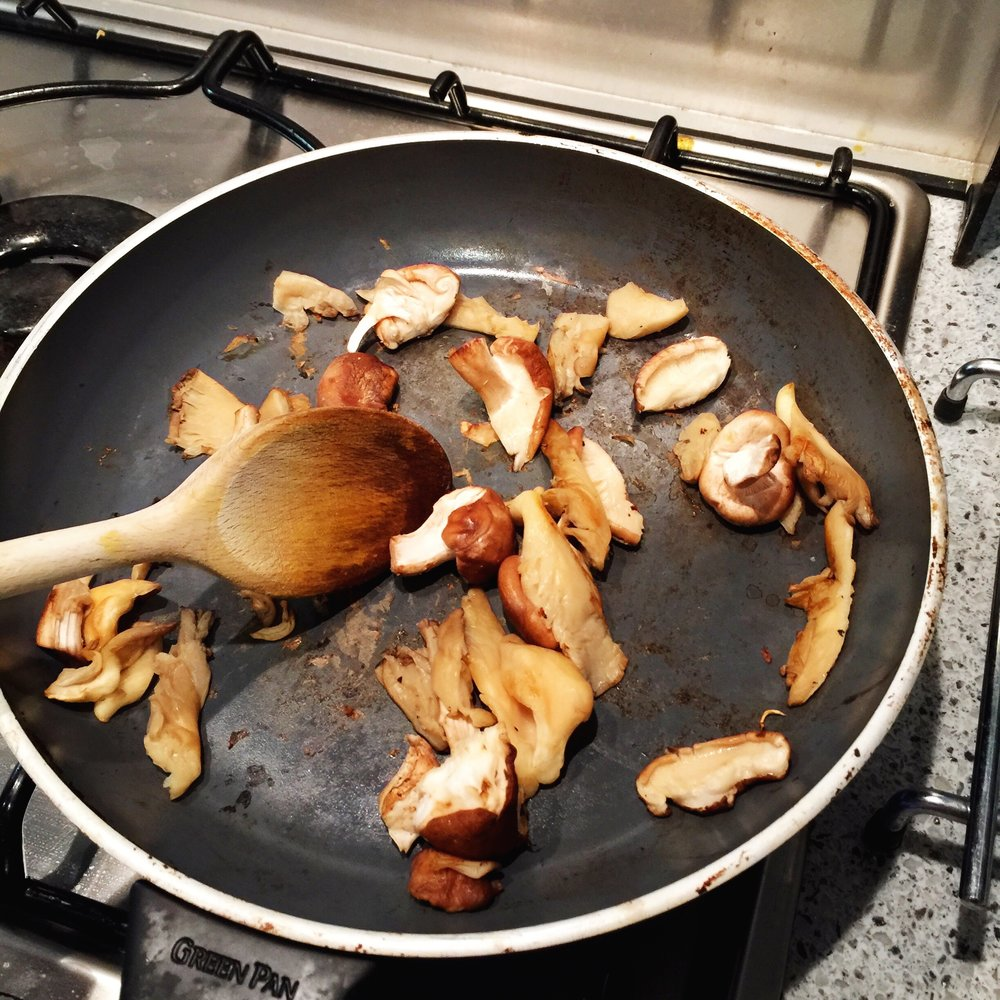 Dry fry your mushrooms to save calories & to avoid them being slimy!
