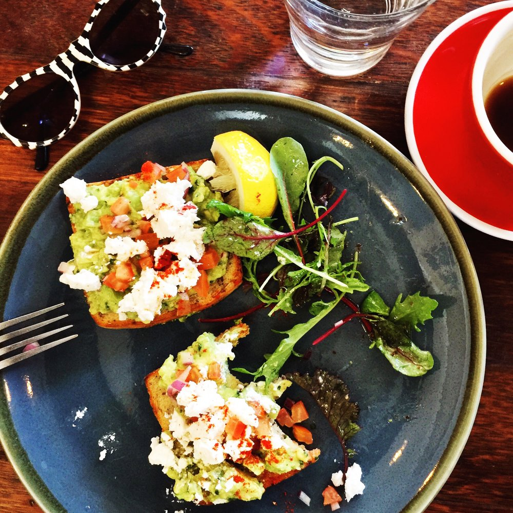 My favourite healthy australian breakfast: gluten free toast, persian feta, tomato salsa, preserved lemon & avocado.