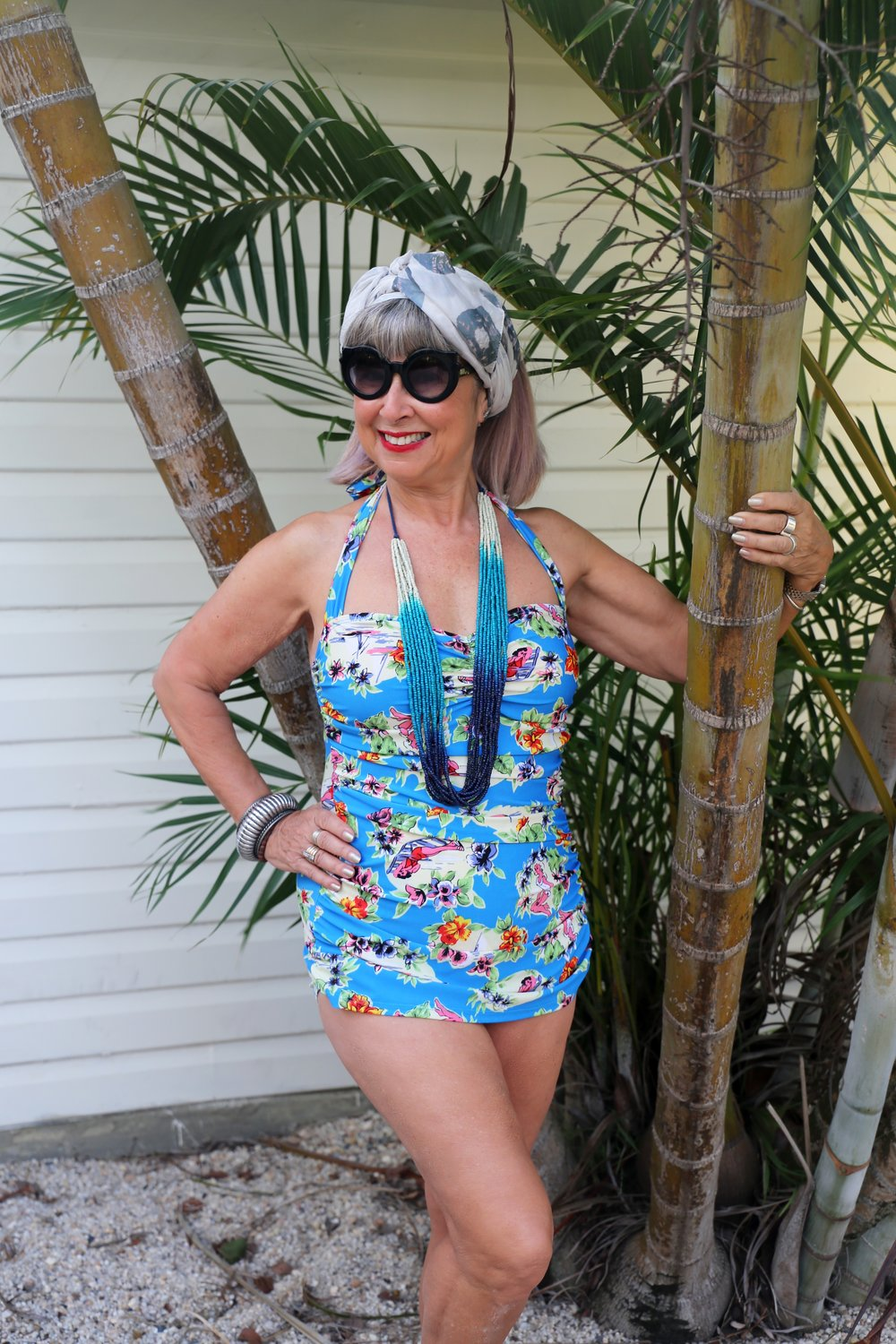 Love my Esther Williams swimsuit, for any age & body type. Fabulous accessories from East Clothing.