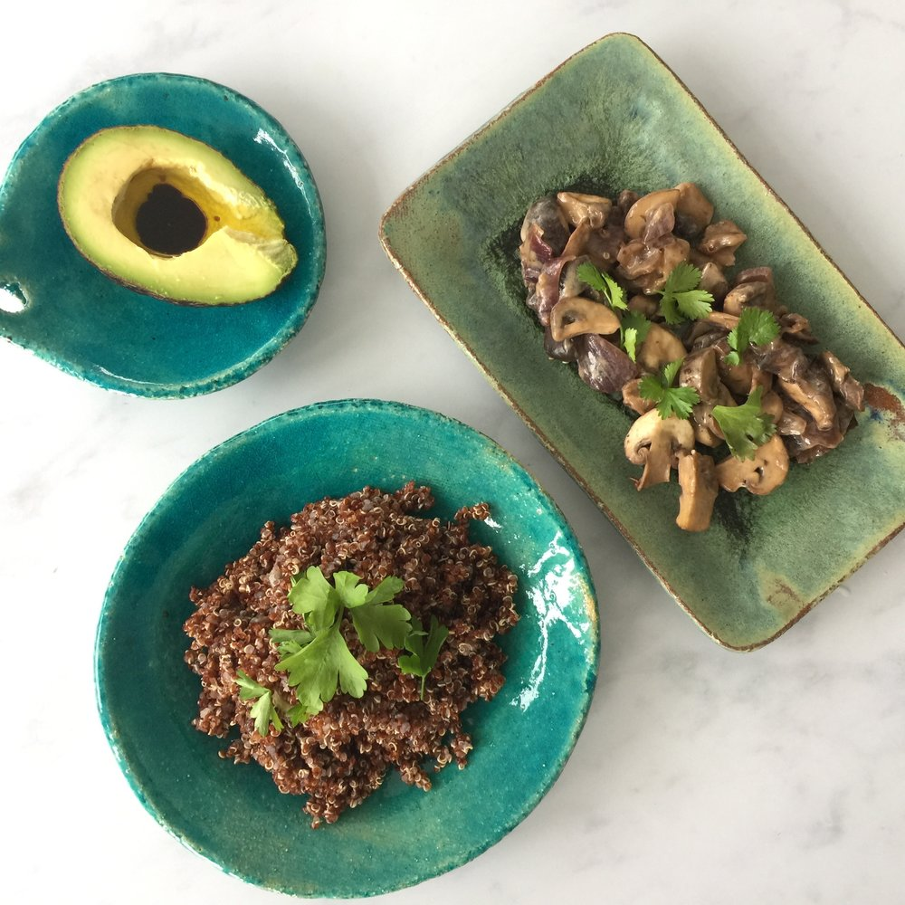 Red quinoa. shitake & chestnut mushrooms. Avocado. What could be healthier!