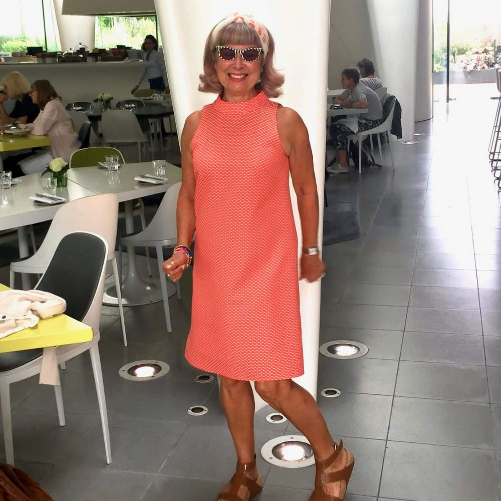 at the serpentine magazine restaurant for a smart summer lunch. dress by Arthur S. Levine, Tahari, & sandals by fitflop.